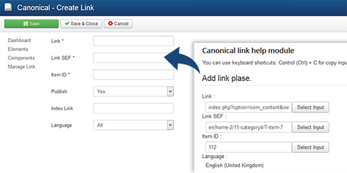 Using the Canonical Link Help Module via Front-end