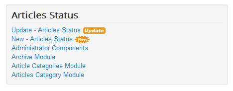 Articles Status module display