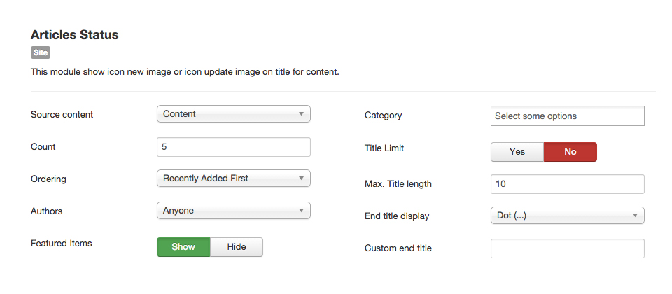 Articles Status Module Setting