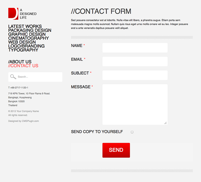 A Designed Life Contact Page
