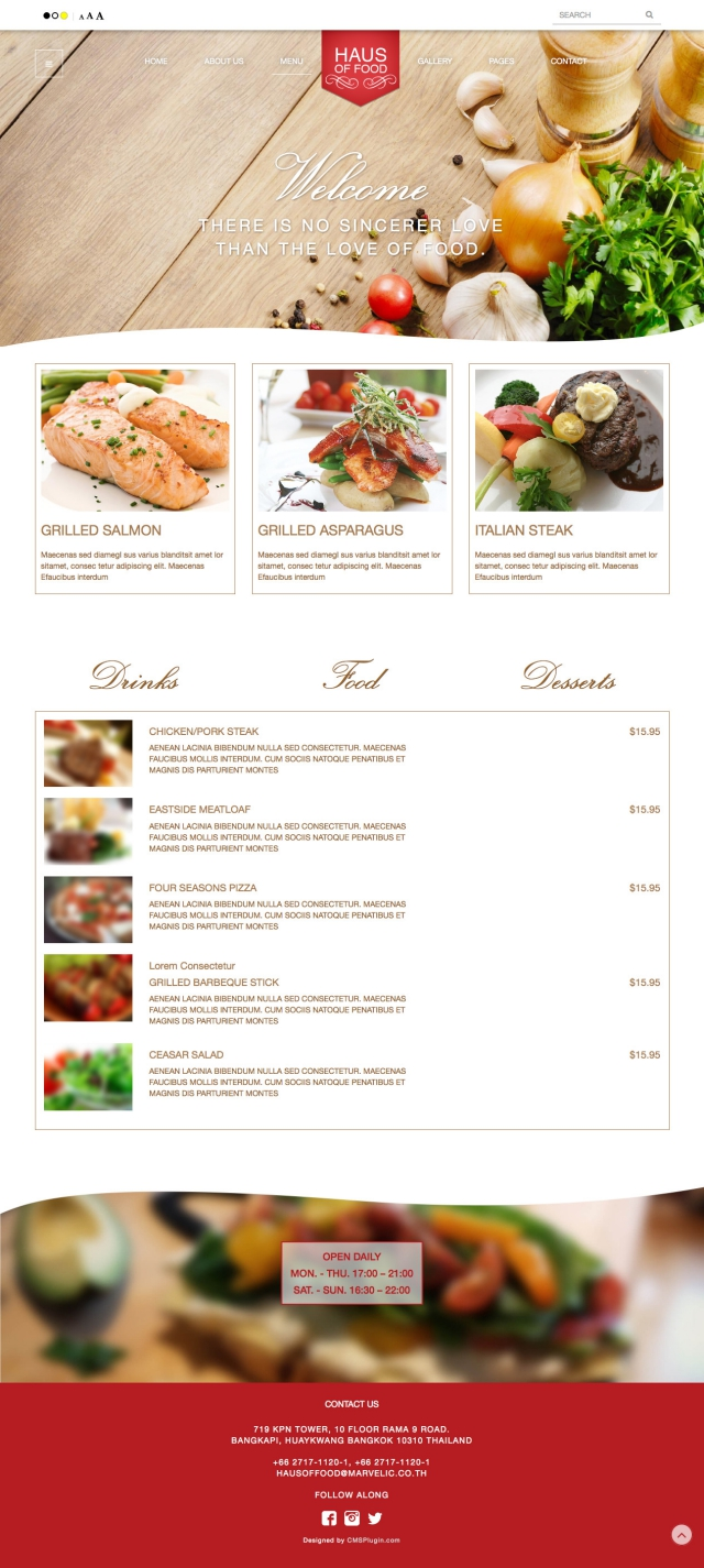 Haus of food Menu Page